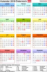 Vorlage 14: Kalender 2018 für Österreich  im Microsoft Excel-Format, Jahresansicht, Hochformat, 1 Seite, in Farbe