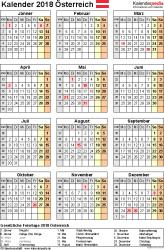 Vorlage 15: Kalender 2018 für Österreich  im Microsoft Excel-Format, Hochformat, 1 Seite