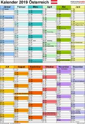 Vorlage 10: Kalender 2019 für Österreich  im Microsoft Excel-Format, Hochformat, 1 Seite, in Farbe, nach Jahreshälften untergliedert