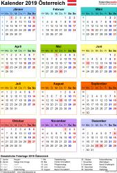 Vorlage 16: Kalender 2019 für Österreich als Microsoft Excel-Datei (.xlsx), Hochformat, 1 Seite, Jahresübersicht, in Farbe