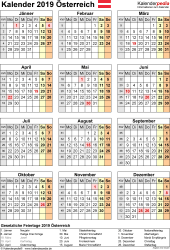 Vorlage 17: Kalender 2019 für Österreich als Microsoft Excel-Datei (.xlsx), Hochformat, 1 Seite, Jahresübersicht