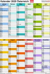 Vorlage 10: Kalender 2020 für Österreich  im Microsoft Excel-Format, Hochformat, 1 Seite, in Farbe, nach Jahreshälften untergliedert