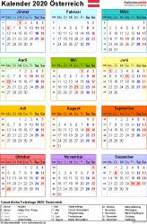 Vorlage 16: Kalender 2020 für Österreich  im Microsoft Excel-Format, Jahresansicht, Hochformat, 1 Seite, in Farbe