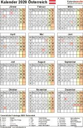 Vorlage 17: Kalender 2020 für Österreich  im Microsoft Excel-Format, Hochformat, 1 Seite