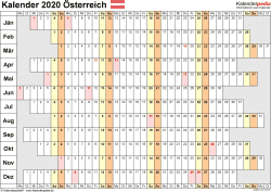 Vorlage 7: Kalender 2020 für Österreich  im PDF-Format, Querformat, 1 Seite, Wochentage untereinander