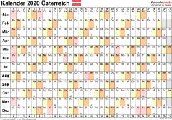 Vorlage 6: Kalender 2020 für <span style=white-space:nowrap;>Österreich als PDF-Datei, Querformat, 1 Seite, Tage linear