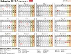Vorlage 9: Kalender 2020 für <span style=white-space:nowrap;>Österreich als PDF-Datei, Querformat, 1 Seite, Jahresübersicht