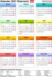 Vorlage 16: Kalender 2021 für Österreich  im Microsoft Word-Format, Jahresansicht, Hochformat, 1 Seite, in Farbe