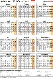 Vorlage 17: Kalender 2021 für Österreich  im Microsoft Word-Format, Hochformat, 1 Seite
