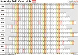 Vorlage 7: Kalender 2021 für Österreich  im Microsoft Excel-Format, Querformat, 1 Seite, Wochentage untereinander