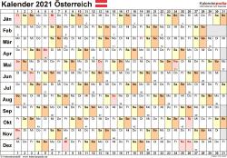 Vorlage 6: Kalender 2021 für Österreich  im Microsoft Word-Format, Querformat, 1 Seite, Tage linear