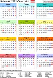 Vorlage 17: Kalender 2022 für Österreich als Microsoft Excel-Datei (.xlsx), Hochformat, 1 Seite, Jahresübersicht, in Farbe