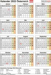 Vorlage 18: Kalender 2022 für Österreich als Microsoft Excel-Datei (.xlsx), Hochformat, 1 Seite, Jahresübersicht