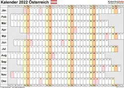 Vorlage 7: Kalender 2022 für <span style=white-space:nowrap;>Österreich als Microsoft Word-Datei (.docx), Querformat, 1 Seite, Wochentage untereinander