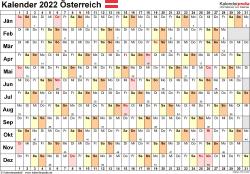 Vorlage 6: Kalender 2022 für Österreich als Microsoft Excel-Datei (.xlsx), Querformat, 1 Seite, Tage linear