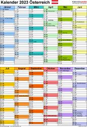 Vorlage 10: Kalender 2023 für Österreich  im PDF-Format, Hochformat, 1 Seite, in Farbe, nach Jahreshälften untergliedert