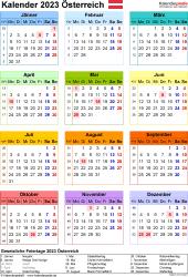 Vorlage 17: Kalender 2023 für Österreich  im PDF-Format, Jahresansicht, Hochformat, 1 Seite, in Farbe