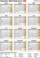 Vorlage 18: Kalender 2023 für Österreich  im PDF-Format, Hochformat, 1 Seite