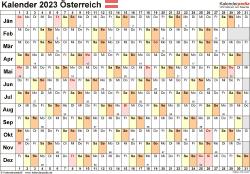 Vorlage 6: Kalender 2023 für Österreich  im Microsoft Word-Format, Querformat, 1 Seite, Tage linear