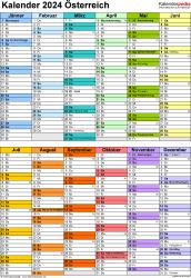 Vorlage 10: Kalender 2024 für Österreich  im Microsoft Word-Format, Hochformat, 1 Seite, in Farbe, nach Jahreshälften untergliedert