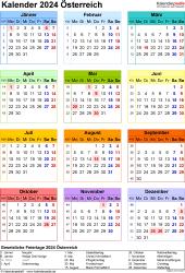 Vorlage 17: Kalender 2024 für Österreich  im Microsoft Word-Format, Jahresansicht, Hochformat, 1 Seite, in Farbe