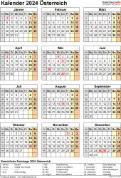 Vorlage 18: Kalender 2024 für Österreich  im Microsoft Word-Format, Hochformat, 1 Seite