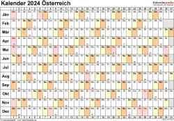 Vorlage 6: Kalender 2024 für Österreich  im Microsoft Word-Format, Querformat, 1 Seite, Tage linear