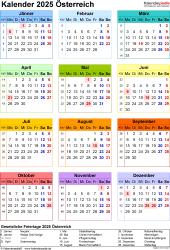 Vorlage 17: Kalender 2025 für <span style=white-space:nowrap;>Österreich als PDF-Datei, Hochformat, 1 Seite, Jahresübersicht, in Farbe