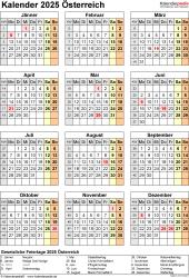 Vorlage 18: Kalender 2025 für <span style=white-space:nowrap;>Österreich als PDF-Datei, Hochformat, 1 Seite, Jahresübersicht