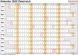Vorlage 7: Kalender 2025 für <span style=white-space:nowrap;>Österreich als PDF-Datei, Querformat, 1 Seite, Wochentage untereinander