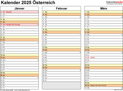 Vorlage 5: Kalender 2025 für <span style=white-space:nowrap;>Österreich als PDF-Datei, Querformat, 4 Seiten, jedes Quartal auf einer Seite