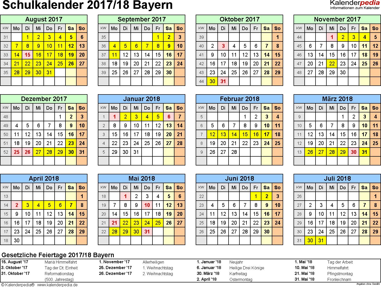 Vorlage 4: Schuljahreskalender 2017/2018 im Querformat, Jahresübersicht