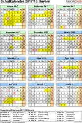 Vorlage 5: Schuljahreskalender 2017/2018 im Hochformat, Jahresübersicht