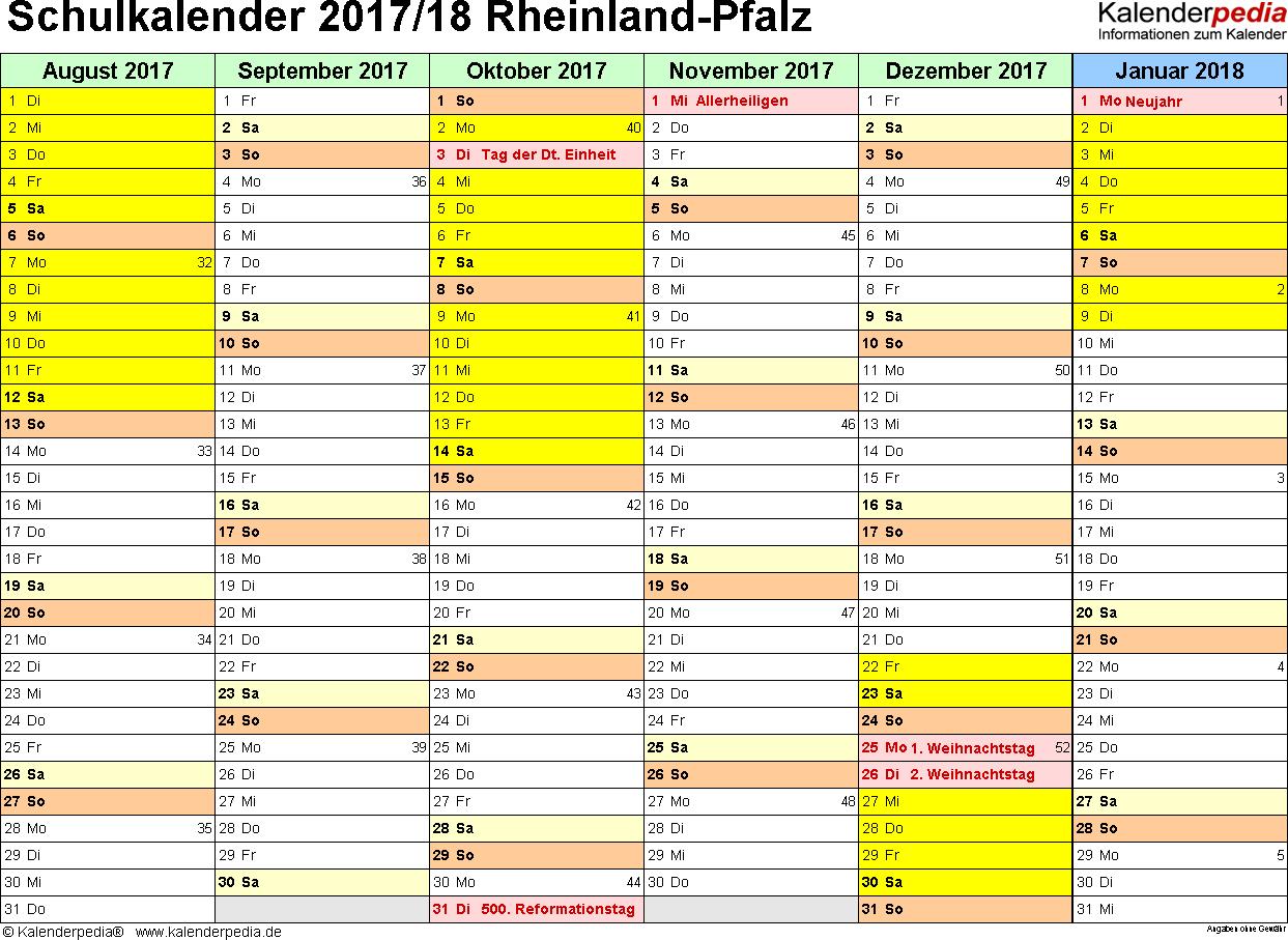 Vorlage 2: Schuljahreskalender 2017/2018 im Querformat