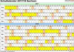 Vorlage 3: Schuljahreskalender 2017/2018 im Querformat