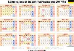 Schulkalender 2017/18 Baden-Württemberg