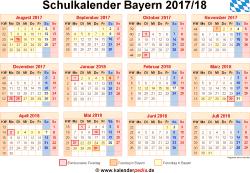 Schulkalender 2017/18 Bayern