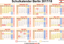 Schulkalender 2017/18 Berlin