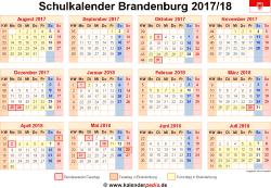 Schulkalender 2017/18 Brandenburg