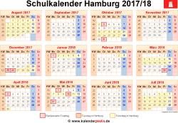 Schulkalender 2017/18 Hamburg