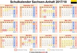 Schulkalender 2017/18 Sachsen-Anhalt
