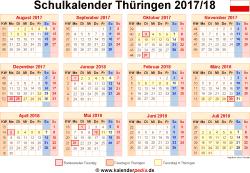 Schulkalender 2017/18 Thüringen