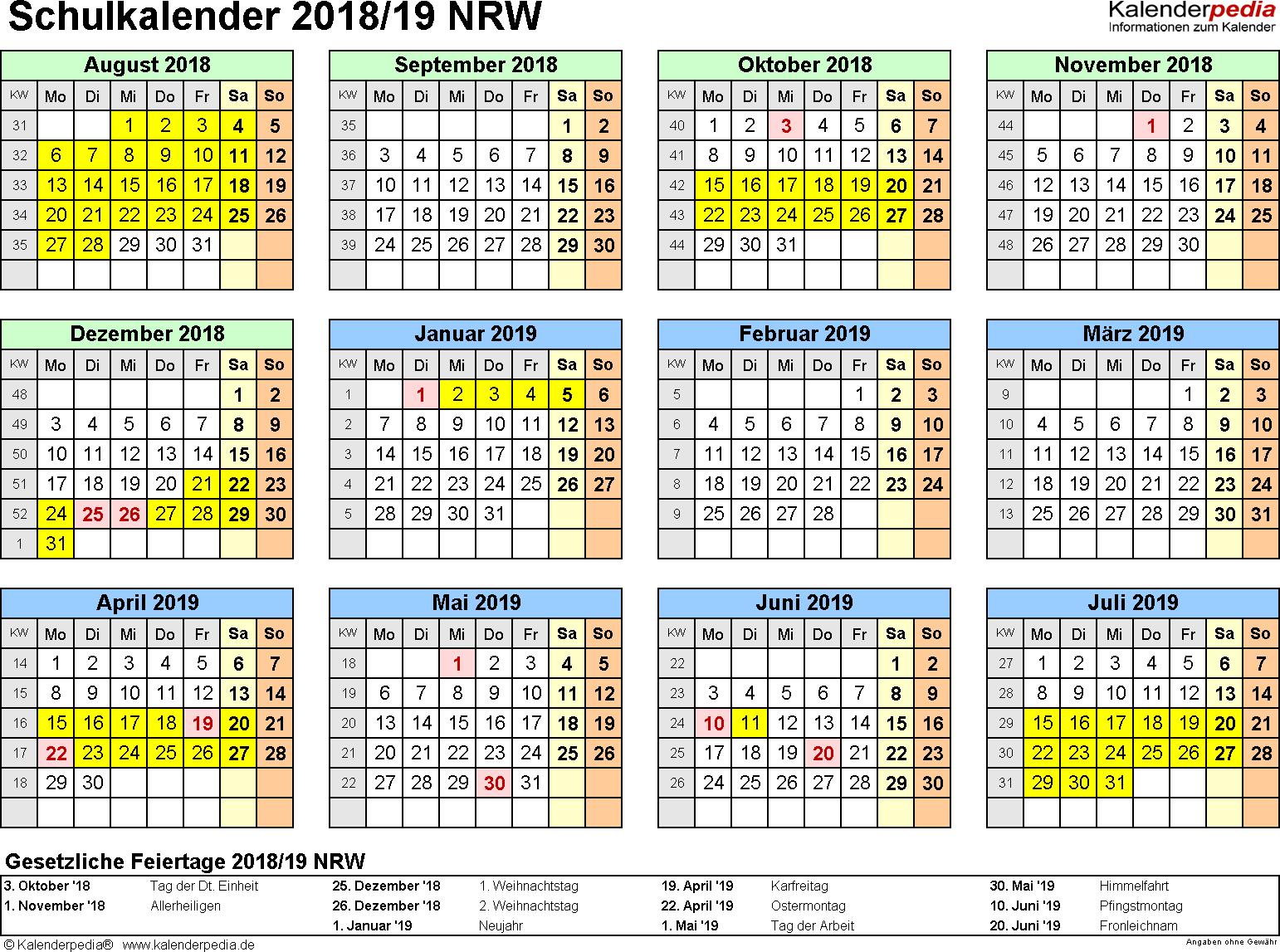 Vorlage 4: Schuljahreskalender 2018/2019 im Querformat, Jahresübersicht