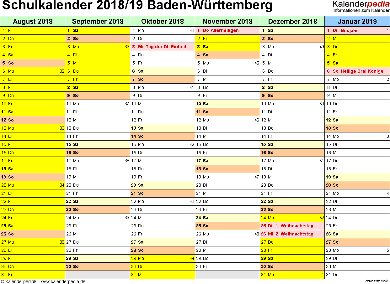 Vorlage 3: Schuljahreskalender 2018/2019 im Querformat