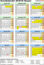Vorlage 6: Schuljahreskalender 2018/2019 im Hochformat, Jahresübersicht