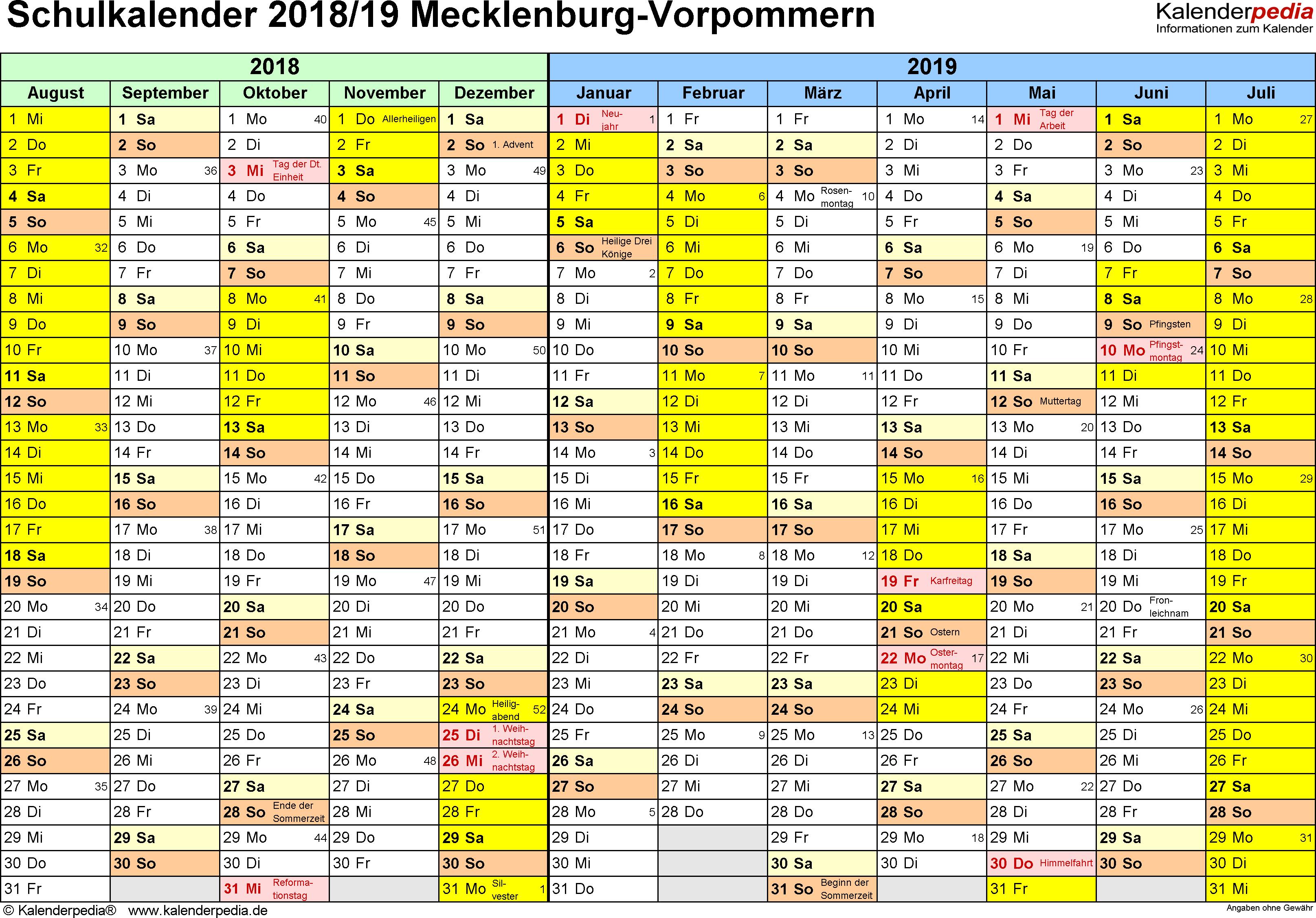 Vorlage 1: Schuljahreskalender 2018/2019 im Querformat