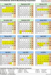 Vorlage 5: Schuljahreskalender 2018/2019 im Hochformat, Jahresübersicht