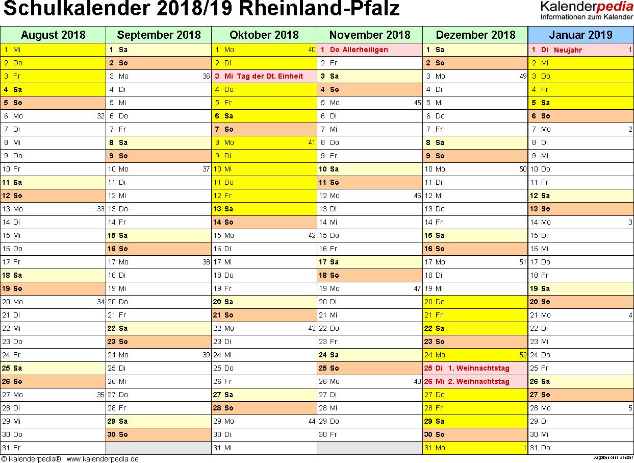 Vorlage 2: Schuljahreskalender 2018/2019 im Querformat