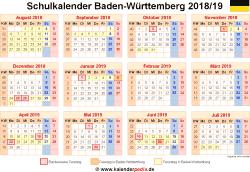 Schulkalender 2018/19 Baden-Württemberg