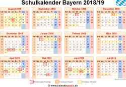 schulkalender 2018 2019 bayern f r word. Black Bedroom Furniture Sets. Home Design Ideas